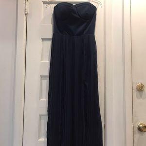 San Souci/Semi Casual Blue Chiffon Pleated Dress